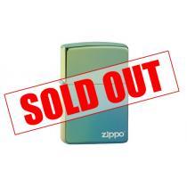 High Polish Teal Logo Zippo Lighter - Genuine Zippo windproof lighter